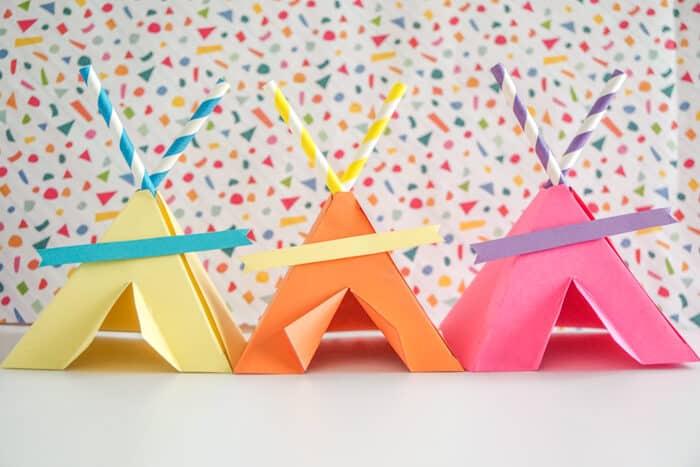rainbow paper teepees