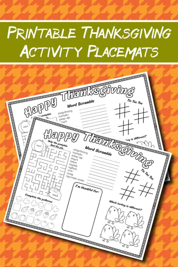 Printable thanksgiving placemates