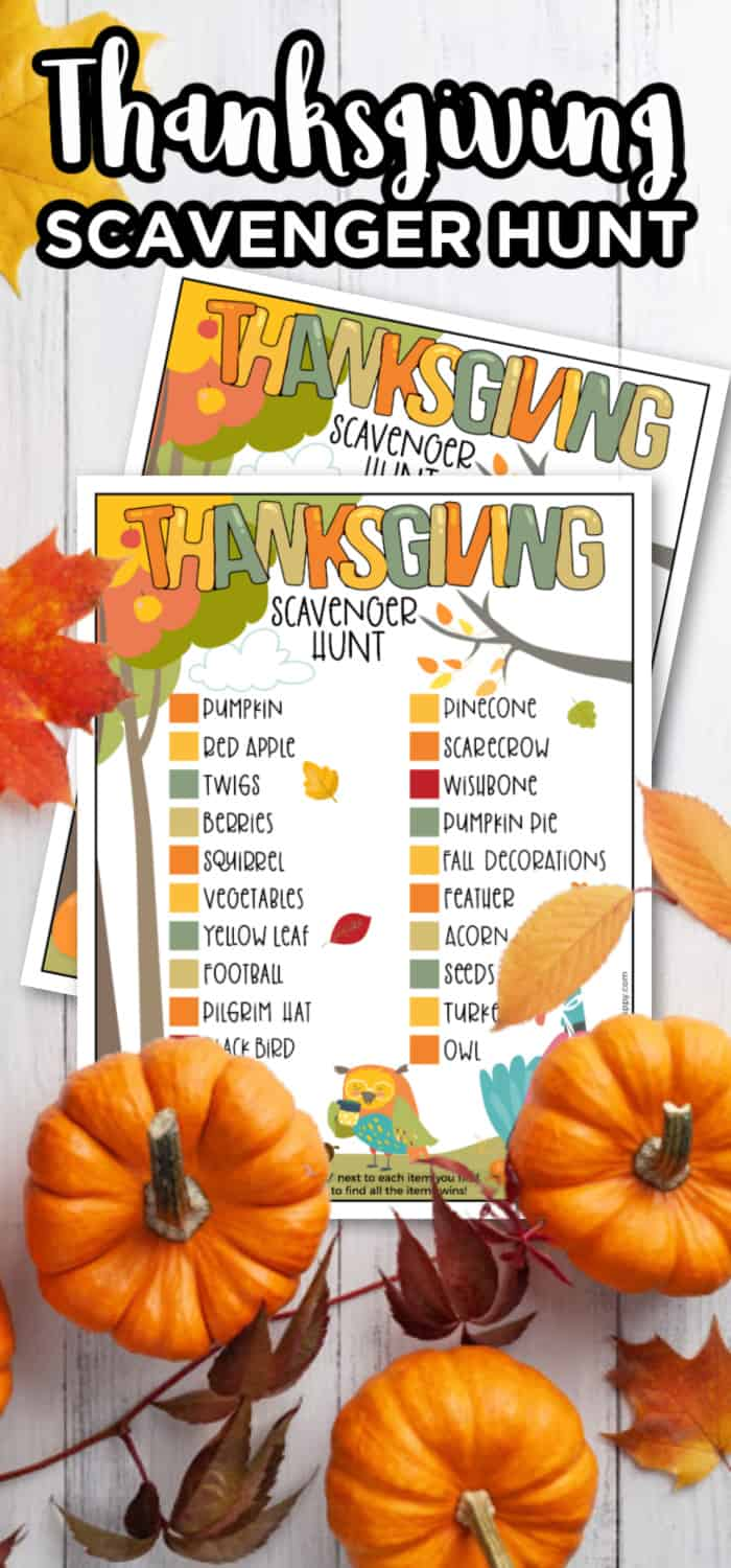 Free Thanksgiving Printable Scavenger Hunt