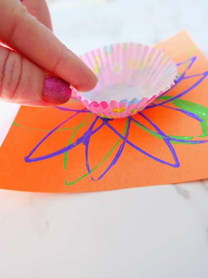 add cupcake liner after glue
