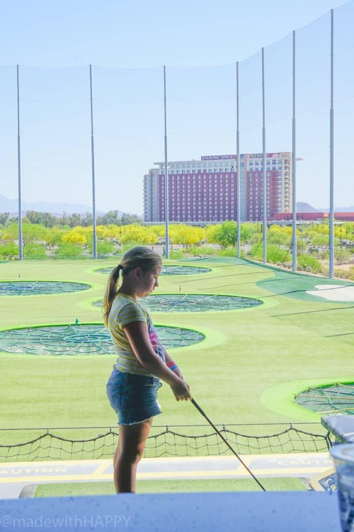 Kids golf fun at Top Golf Scottsdale. Fun things to do in Phoenix Arizona. Phoenix Arizona Attractions. Spring Break Road Trip from San Diego to Phoenix. Fun Stops from California to Arizona.