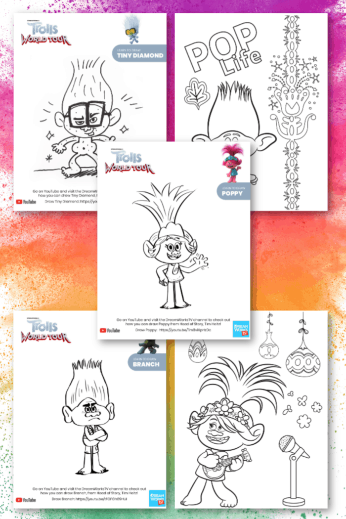 Trolls printable coloring sheets
