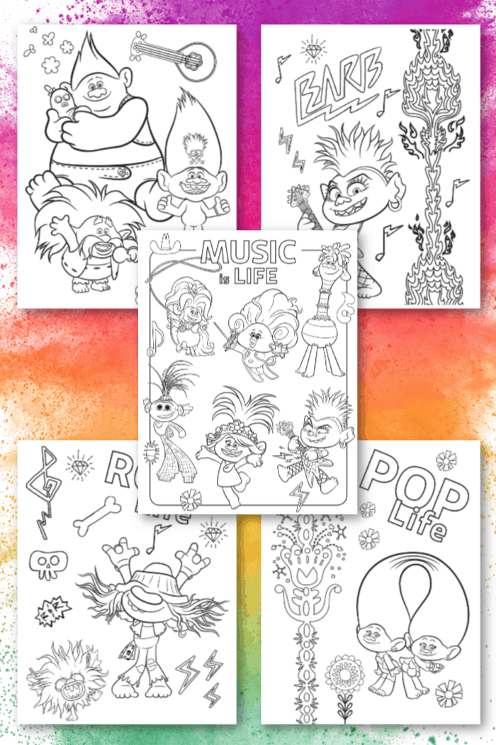 Coloring Sheets Trolls World Tour