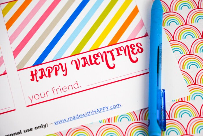 Print the Valentines with pen for Happy Valentines your friend