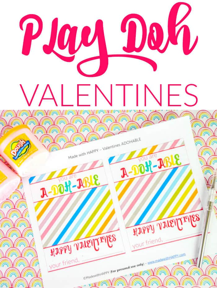 Printed Play Doh Printable with two tubes of play doh on a rainbow table.