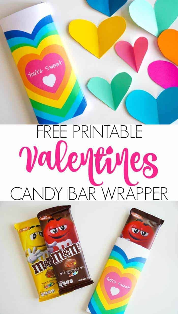 Free Printable Valentines DIY Candy Bar Wrappers. DIY Candy Bar Wrappers are great for Valentines. These simple free printable DIY Candy Bar Wrappers are great for the M&M Candy Bars. Valentines presents for your neighbors and friends!