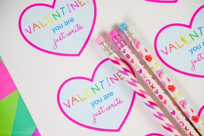Valentines Card with Pencils. Printable Valentines Card Ideas for Preschoolers. Kids Valentines Ideas. Kindergarten Valentines Ideas