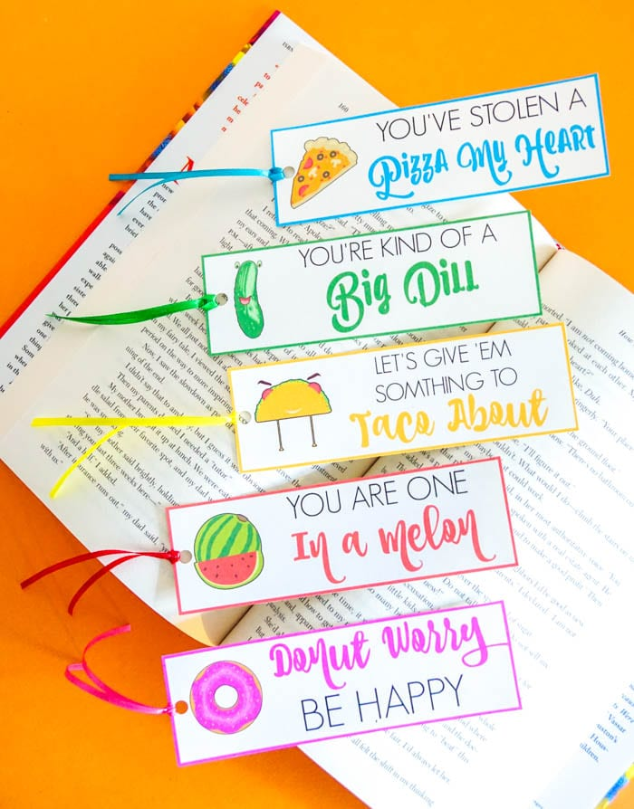 Food Pun Valentines. Food Pun Bookmarks