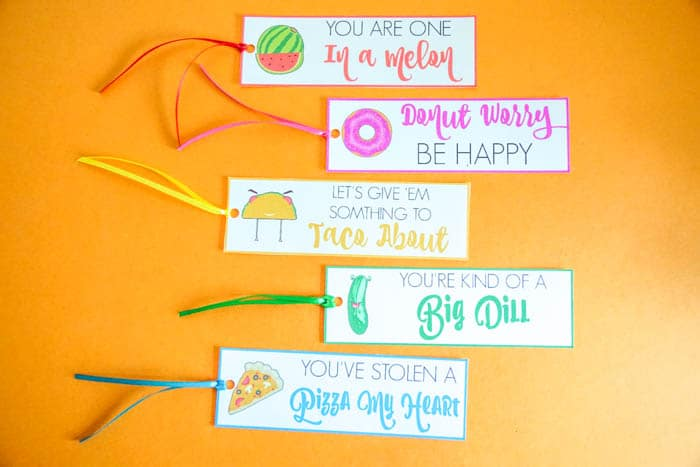 Free Printable Bookmarks. Valentines Day Puns. Valentines Day Bookmarks. Cute Valentines Day Puns. Donut Worry Be Happy. You are one in a melon. Fun Valentines day puns. Bookmark Puns. Non-Candy Valentines Day Ideas. Food Puns for Valentines Day!