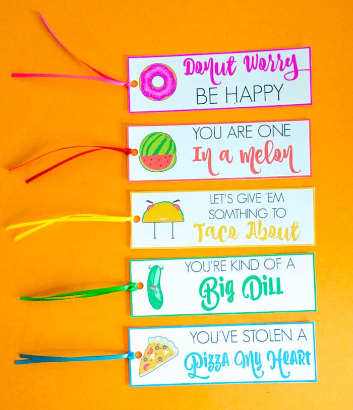 Funny Food Pun Bookmarks. Valentines Day Puns. Valentines Day Bookmarks. Cute Valentines Day Puns. Donut Worry Be Happy. You are one in a melon. Fun Valentines day puns. Bookmark Puns. Non-Candy Valentines Day Ideas. Food Puns for Valentines Day!