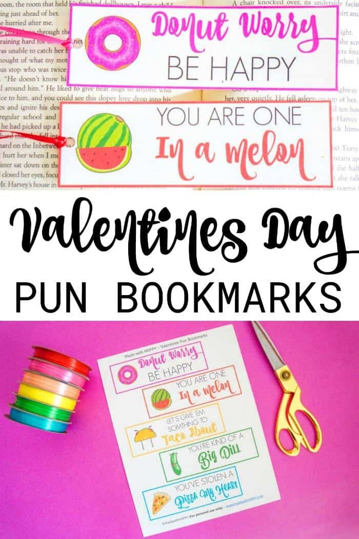 Valentines Day Puns. Valentines Day Bookmarks. Cute Valentines Day Puns. Donut Worry Be Happy. You are one in a melon. Fun Valentines day puns. Bookmark Puns. Non-Candy Valentines Day Ideas.