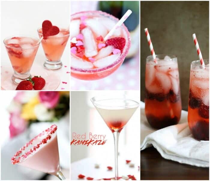 20 Valentine's Day Drinks | Adult drinks for Valentines Day!  Pink and Red Drinks | www.madewithHAPPY.com