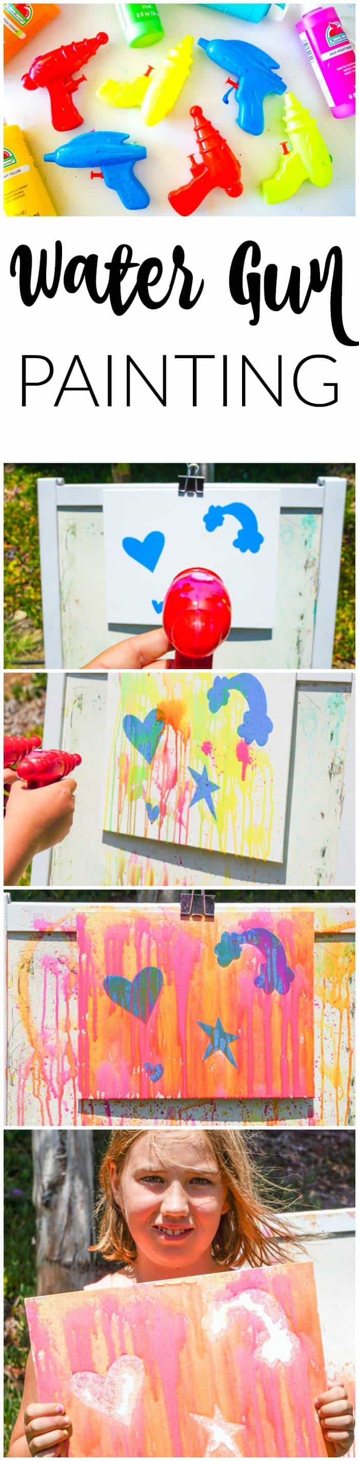 Water gun painting fun for Summer. Looking for Summer activities for the kids? The kids LOVE water gun painting throughout the Summer.