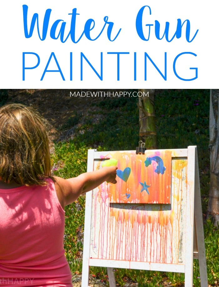Water gun painting. Looking for Summer activities for the kids? The kids LOVE water gun painting throughout the Summer.