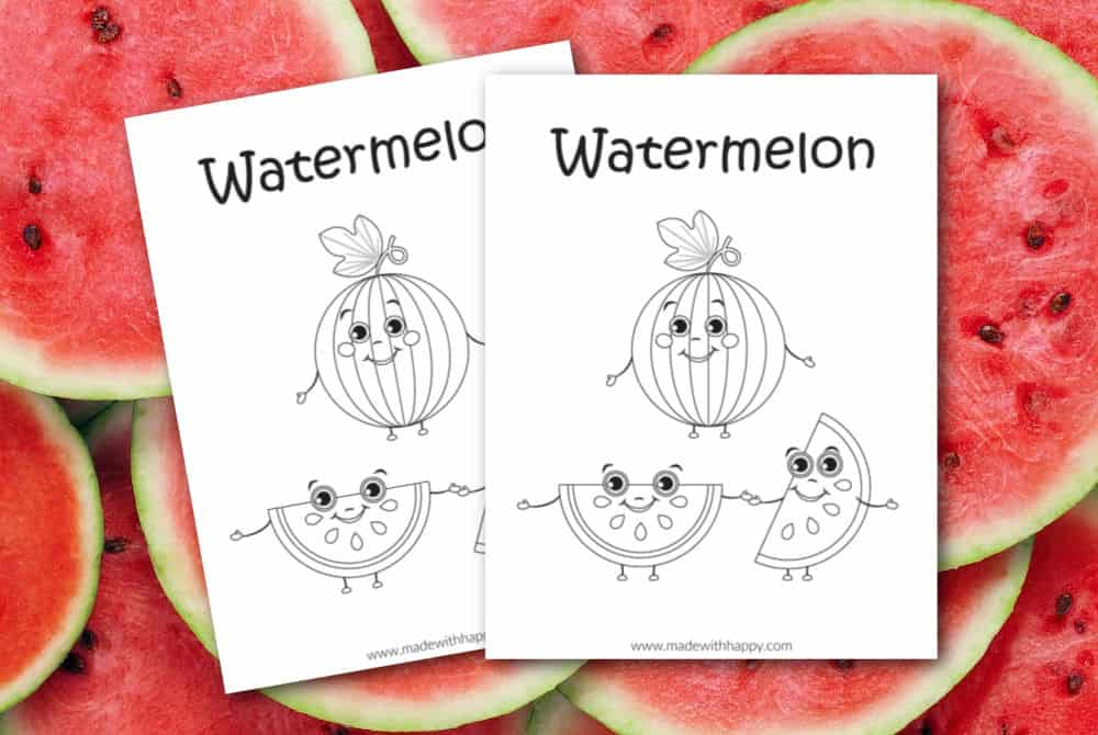 Watermelon Coloring Page For Kids