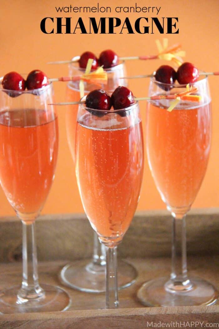Watermelon Cranberry Champagne Cocktail