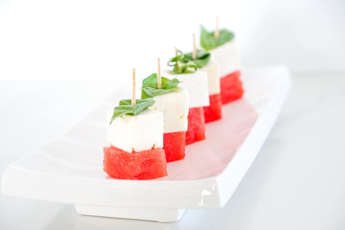 Melon and basil skewers