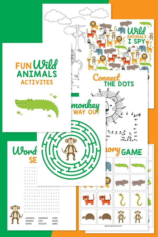 Animal Memory Game and Printable coloring Pages