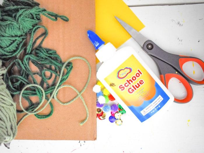 yarn Christmas tree craft supplies