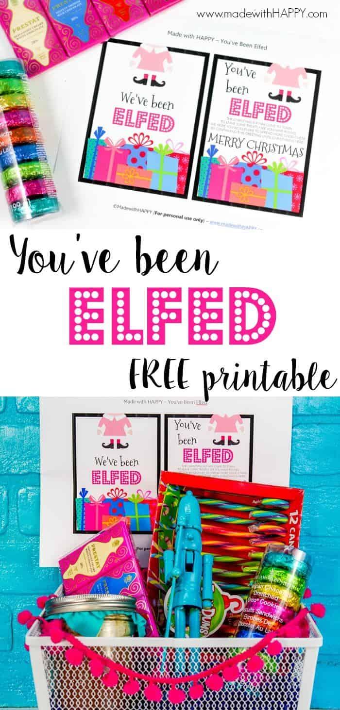 You've been elfed printable. Fun neighbors gifts for Christmas. Printable Christmas Cards.