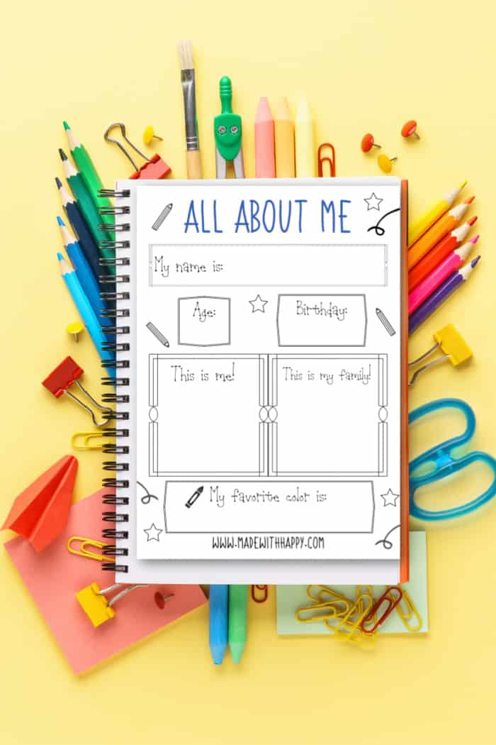 Printable All about Me Page