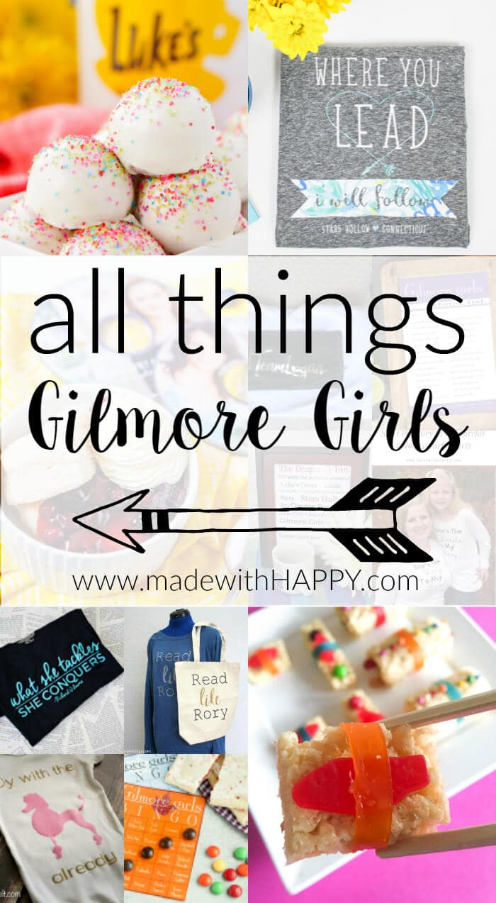 All things Gilmore Girls | Team Logan T-shirts | Gilmore Girls Miss Patty's Founders Day Punch | Gilmore Girls Dessert Sushi | Gilmore Girls Party | Read like Rory Shirts | Pop Tart Recipes | Sookie's Blueberry Shortcake | Gilmore Girls Drinking Game | Candy Sushi | Rice crispy treat dessert ideas | www.madewithhappy.com