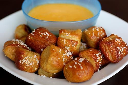 Easy Super Bowl Appetizers - pretzel bites with nacho cheese for dipping