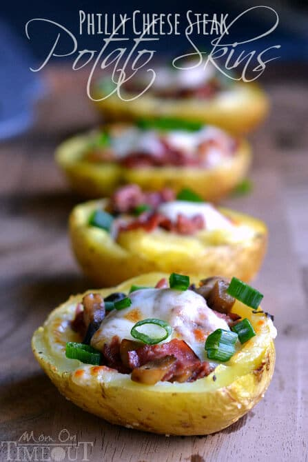 Easy Super Bowl Appetizers - Potato Skins topped with cheese and green onion