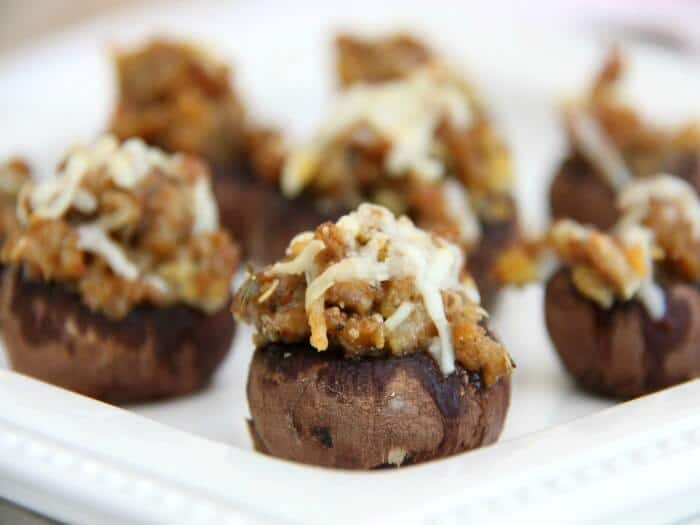 Easy Super Bowl Appetizers  - Italian Stuffed Mushrooms topped with melted cheese, a perfect finger food recipe