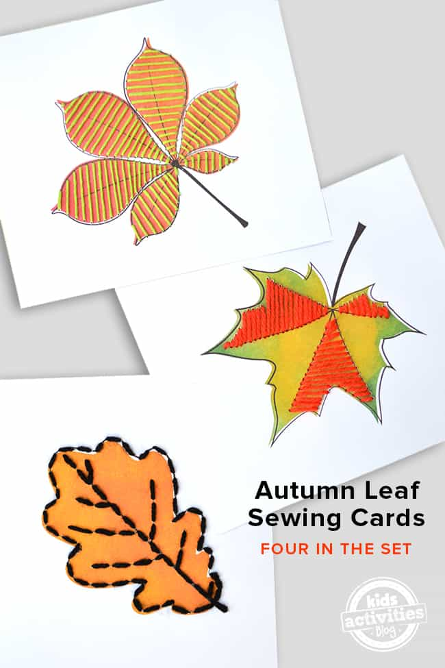 leaf printable sewing cards