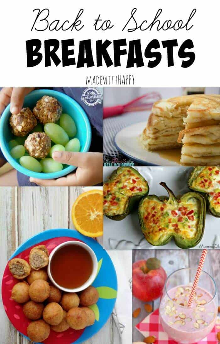 Back to School Breakfast Ideas | Breakfast Recipes including breakfast bites, omlete stuffed bell pepper, smoothies and homemade pancakes | www.madewithHAPPY.com | The Handmade Hangout Link Party