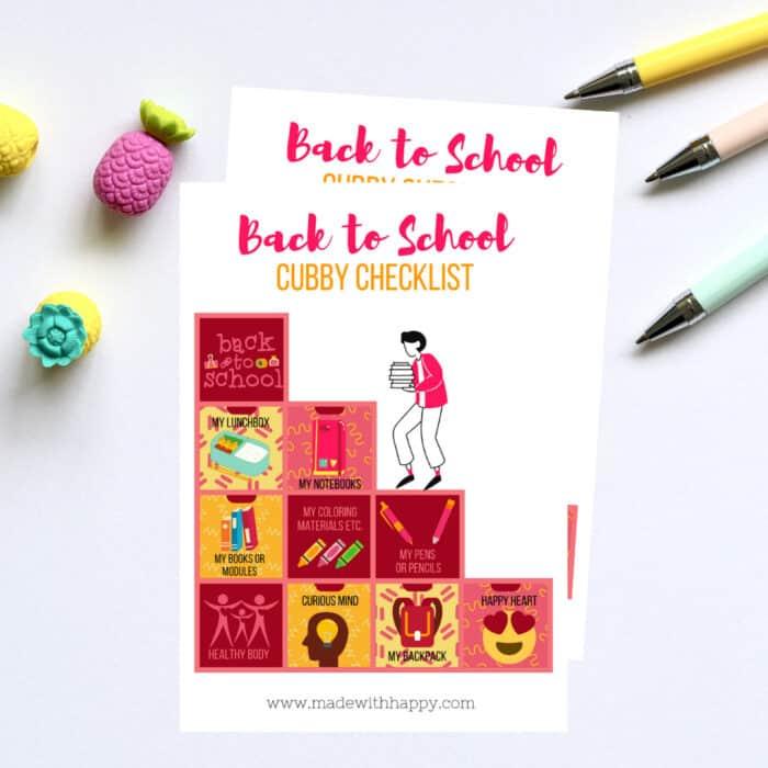School Cubby Checklist