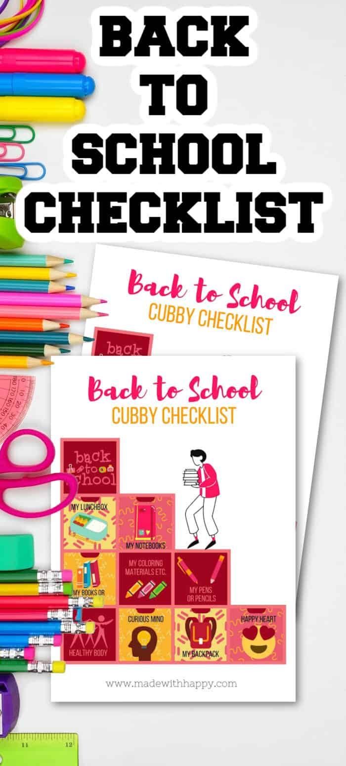 Back to School Supply Checklist