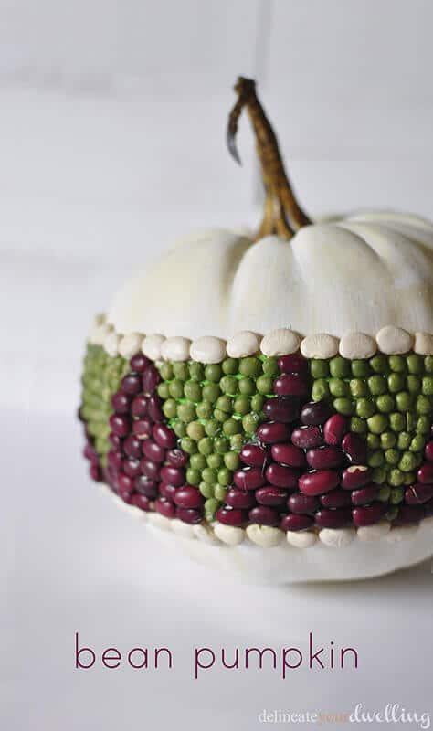 Bean Pumpkin. Non-carving Pumpkin idea. Fall Craft Ideas. Fall Decor, Fall Inspiration, and Fall Recipes. Link party sharing all kinds of Fall Inspirations. Pumpkins and other decor.
