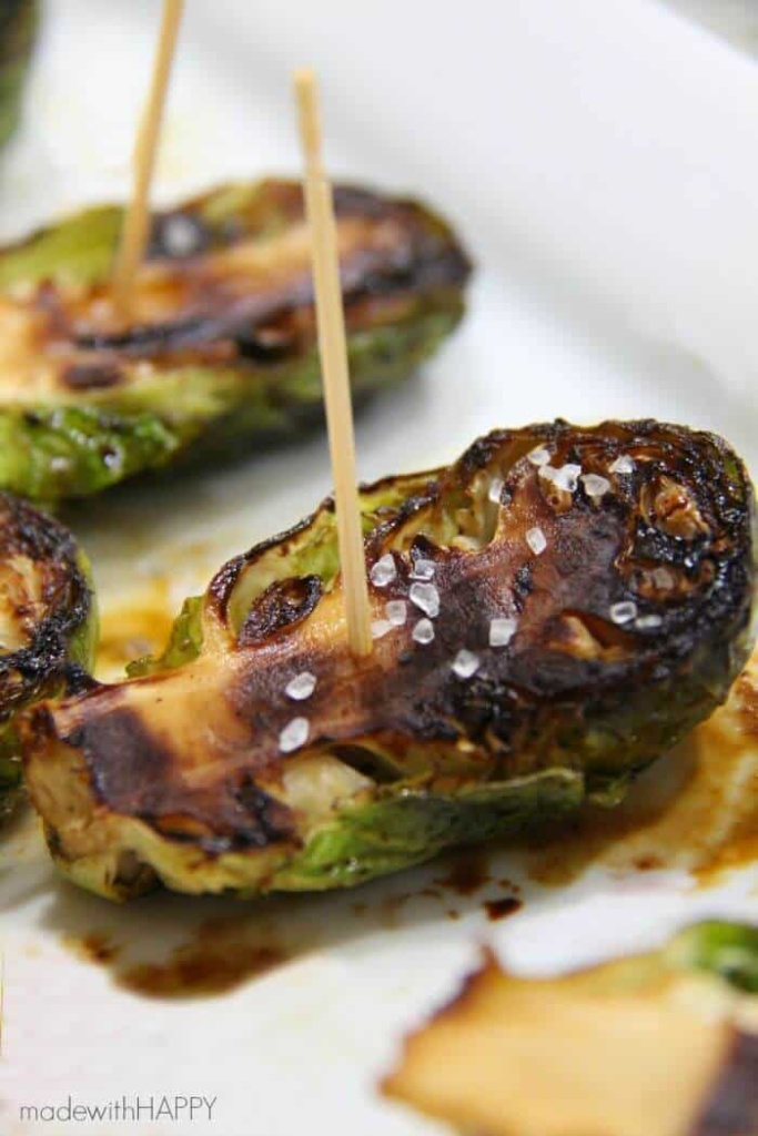 Brussel Sprout Appetizers   Grilled Brussel Sprouts Recipe   www.madewithHAPPY.com