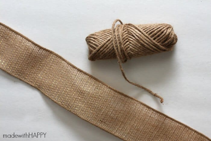 cut burlap ribbon and twine