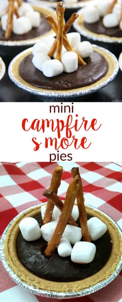 Mini Camfire S'more Pies   S'more desserts   Camping Desserts   Easy No Bake Desserts   Chocolate S'mores   www.madewithhappy.com