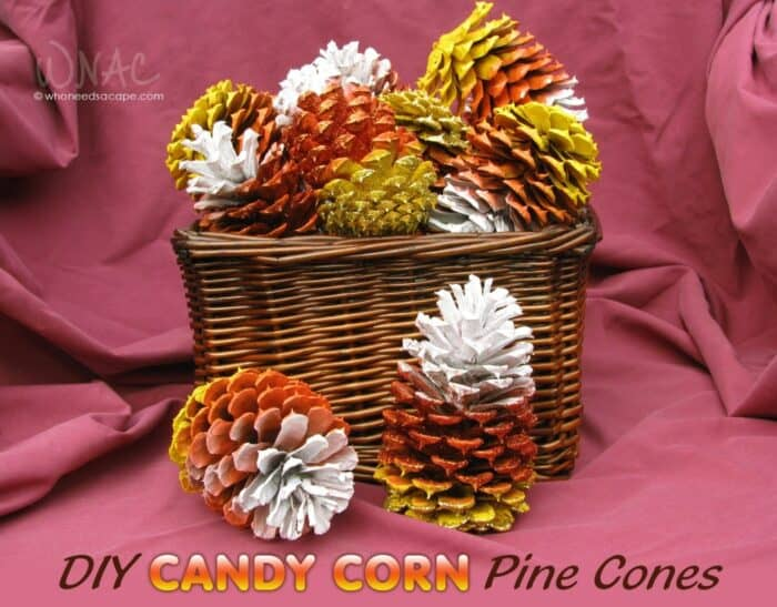 candy corn pinecones