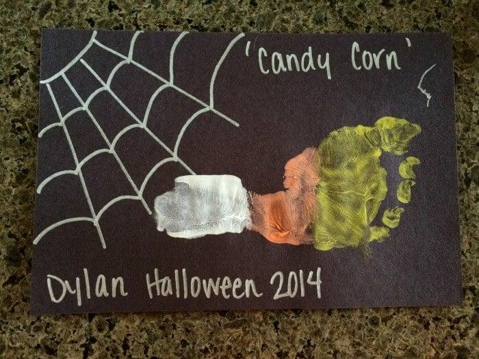 Kids Halloween Crafts | Candy Corn Foot Prints | Preschool Kids Crafts | Last minute Halloween Fun! | www.madewithhappy.com
