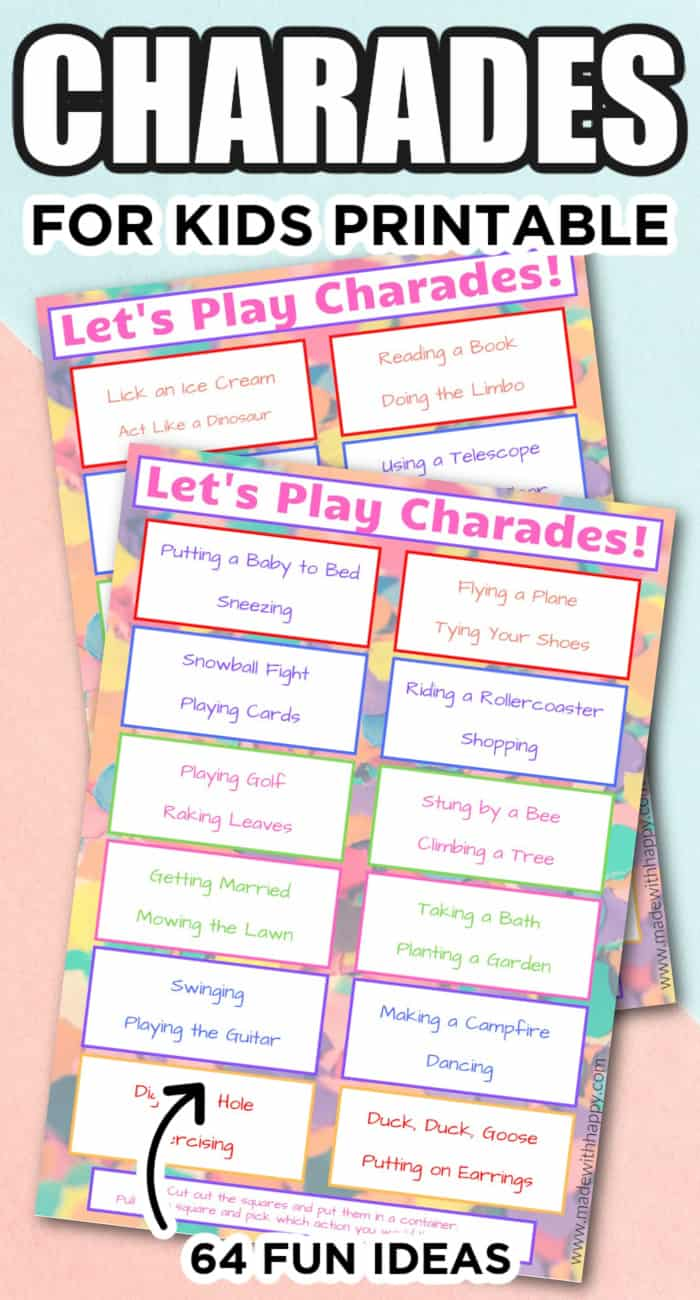 Family Charades Free Printable Game Made With Happy