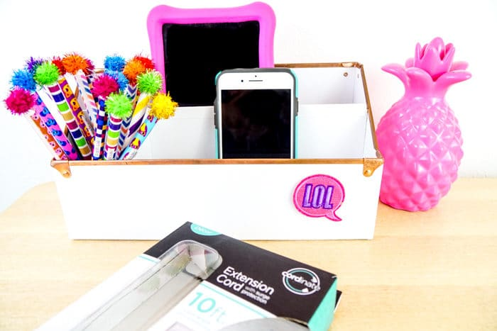 Desk Organizer. DIY Charging Station. Make your own Charging Station just in time for back to school. DIY Phone Charging Station. How to make a charging station.