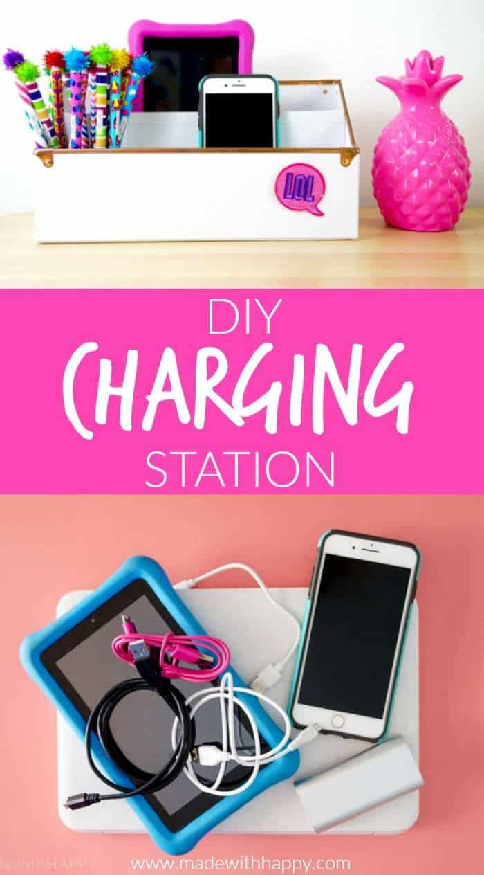DIY Charging Station. Make your own Charging Station just in time for back to school. DIY Phone Charging Station. How to make a charging station.