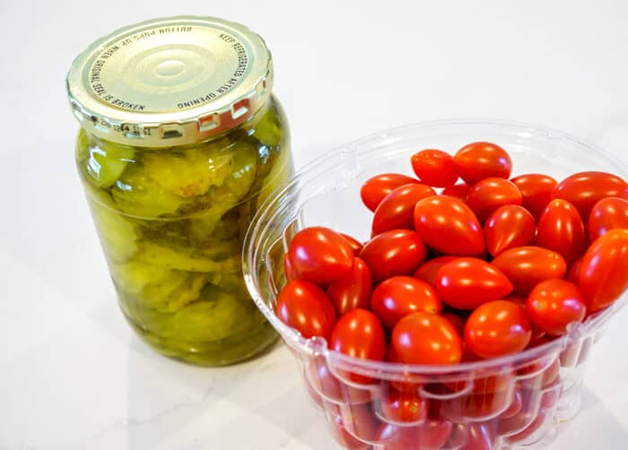 pickles and cherry tomatoes