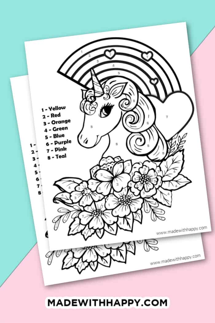 Unicorn Color By Number Free Printable Unicorn Coloring Pages