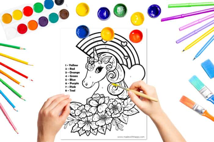 Free Printable Color By Number Unicorn