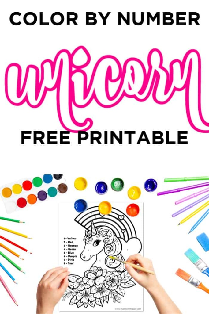 Color By Number Unicorn Free Printable