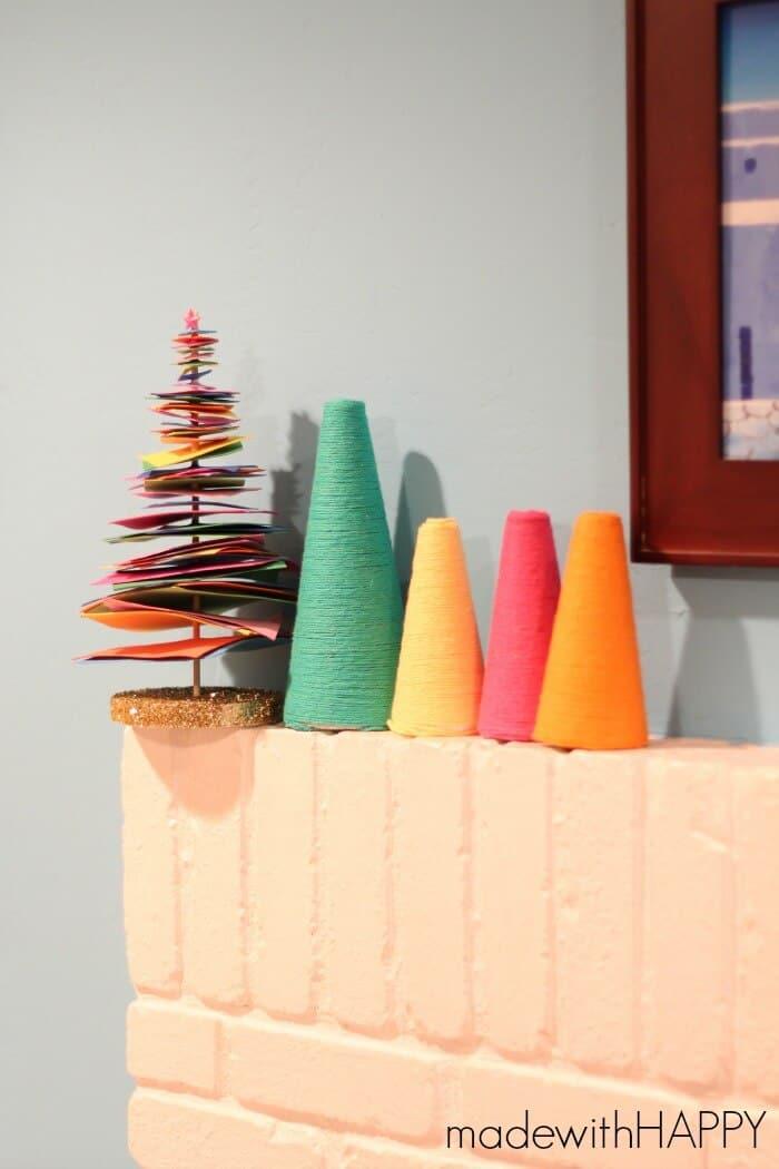 colorful-foam-christmas-tree-mantle