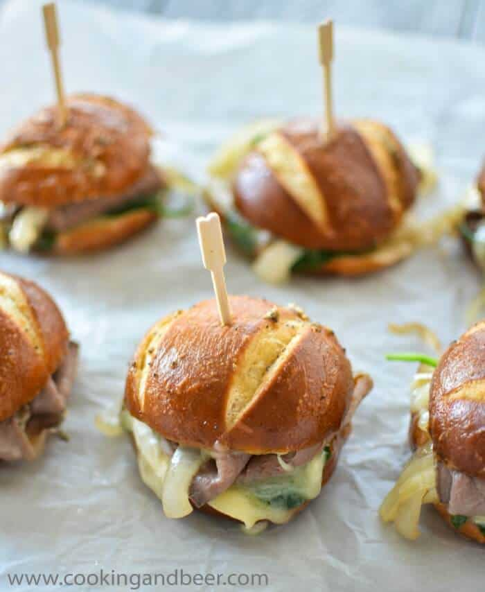 Easy Super Bowl Appetizers - Roast Beef and Brie Sliders that make the perfect super bowl finger food