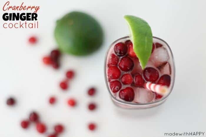 Cranberry Ginger Cocktail | 20+ Fall Cocktail Recipes | Holiday Entertaining with Fall Recipes | Pumpkin, apple and cinnamon cocktails | www.madewithHAPPY.com