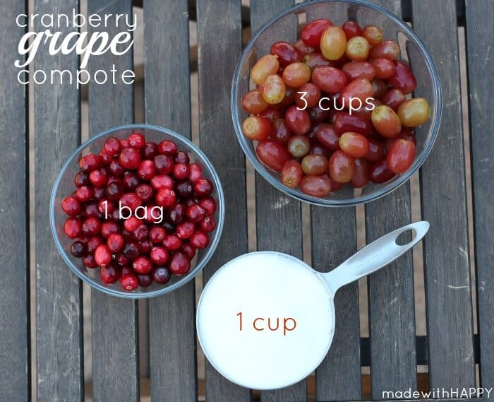 Cranberry Grape Compote   Thanksgiving Cranberry Recipe   Homemade Thanksgiving   Easy Thanksgiving Side Dishes   www.madewithhappy.com